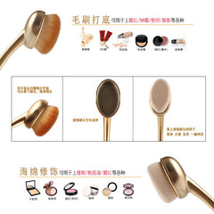 Gold Oval Makeup Brush Set Foundation Powder Blush Brush