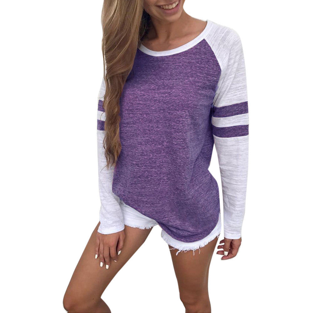 Ladies Long Sleeve Splice Blouse Tops Clothes T Shirt