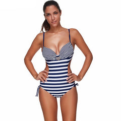 Blue Striped One-Piece Swimsuit