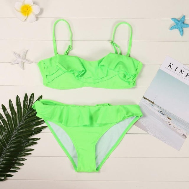 Ruffled Push-Up Bikini Set