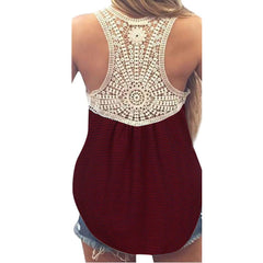 Women Summer Lace Vest Top Short Sleeve Blouse Casual Tank Tops