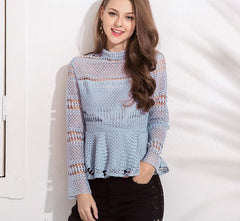 High Collar Long Sleeved Lace Top