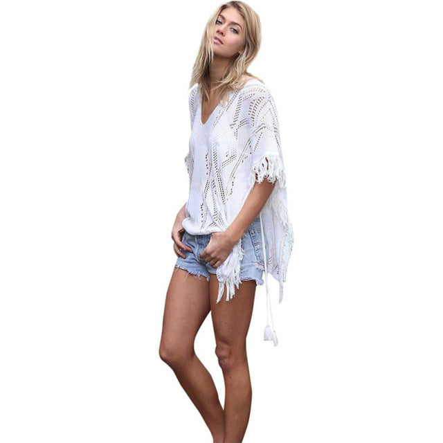 Tassle Poncho Cover Up