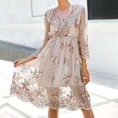 Sequined V Neck Dress