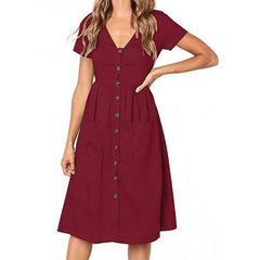 V-Neck Button Closure Women's Sundress