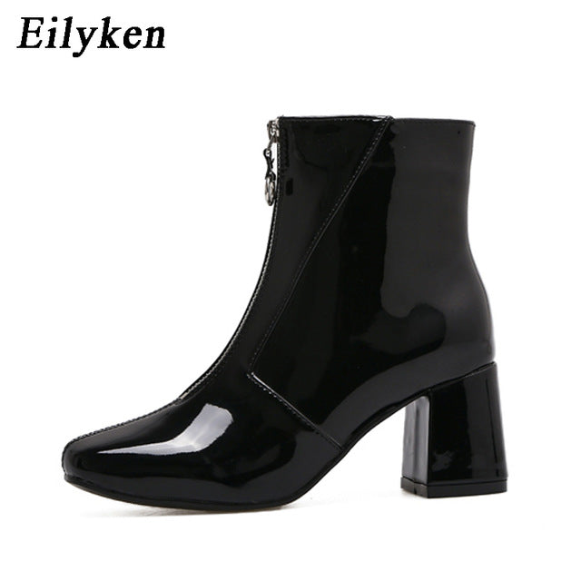 Autumn Fashion Boots New Low Heel Boots Zipper Women Round Toe Square heel Patent Leather Boots Black