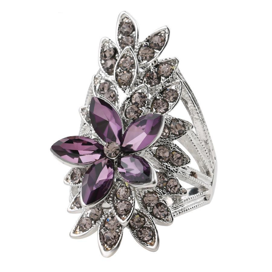 Purple Crystal Floral Ring
