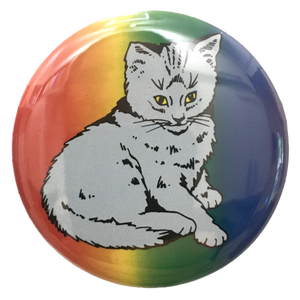Rainbow Focus Cat Button + Magnet