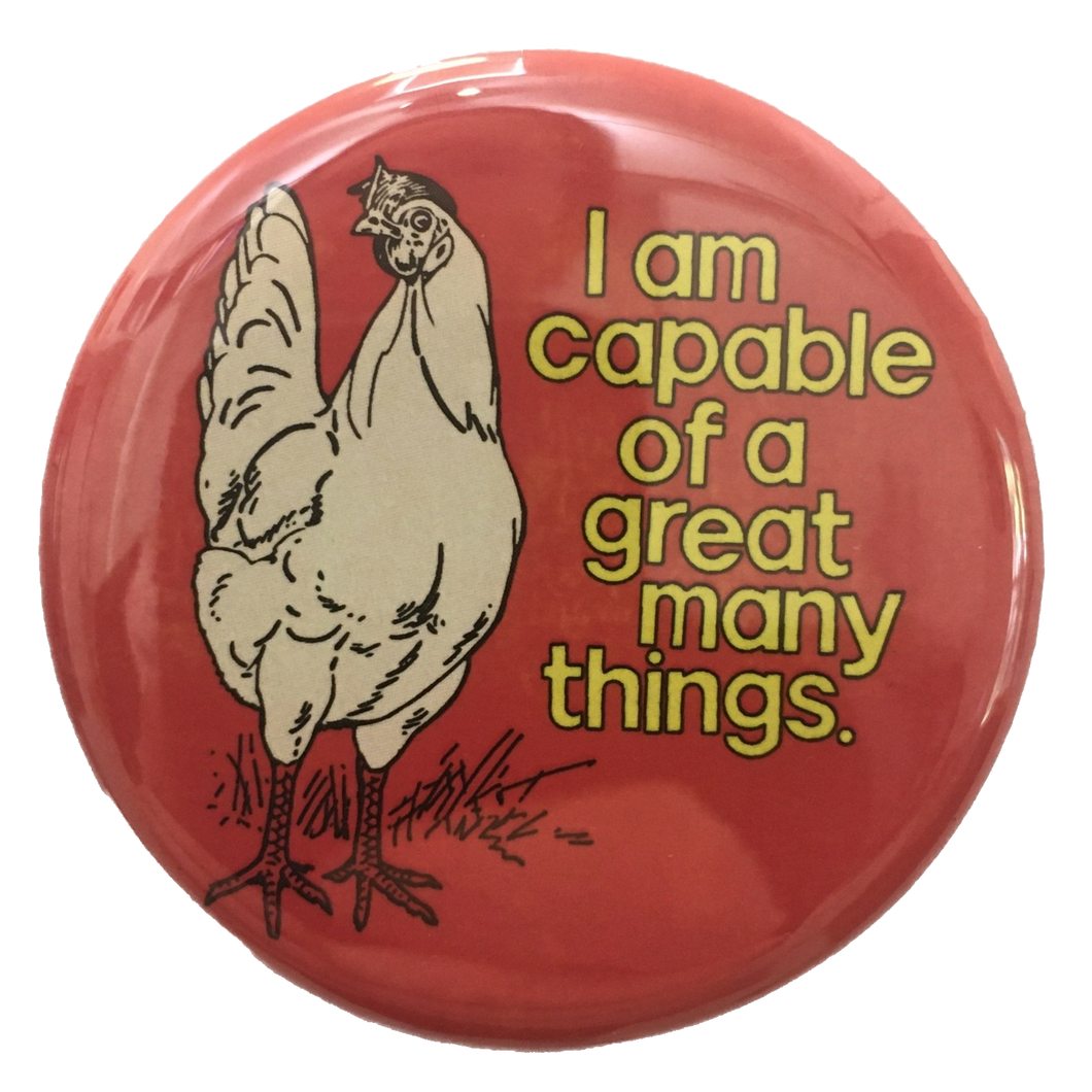 Red Positive Chicken Button + Magnet