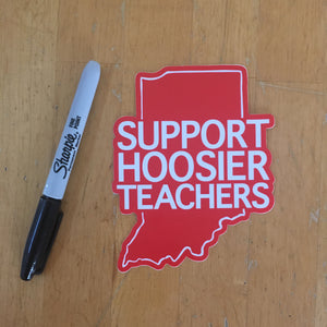 Support Hoosier Teachers window cling