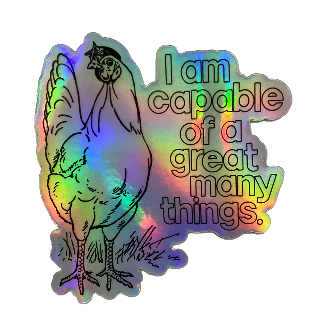 Positive Chicken Holographic Sticker