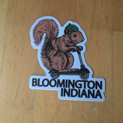 Bloomington squirrel on a bird sticker - badkneesTs | badkneesTs