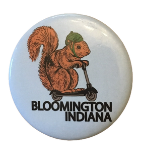 Bloomington Indiana Squirrel on a Bird button