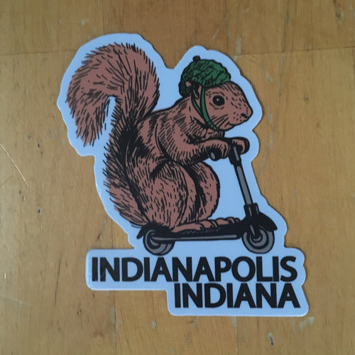 squirrel on a bird INDIANAPOLIS sticker