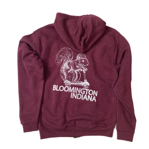 Bloomington Indiana Squirrel on a Bird Fleece Hoodie