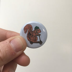 squirrel on a bird button + magnet - badkneesTs | badkneesTs