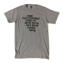 Read Kurt Vonnegut Listen to David Byrne T-shirt