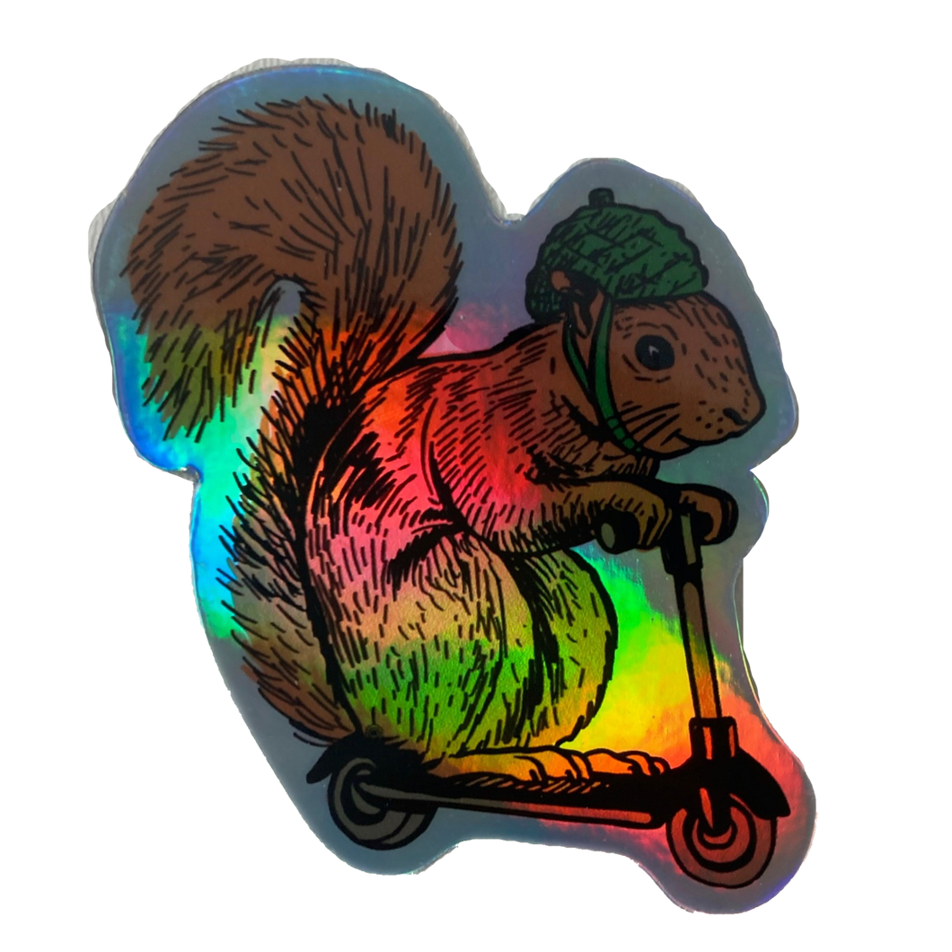 Squirrel on Bird Holographic Sticker