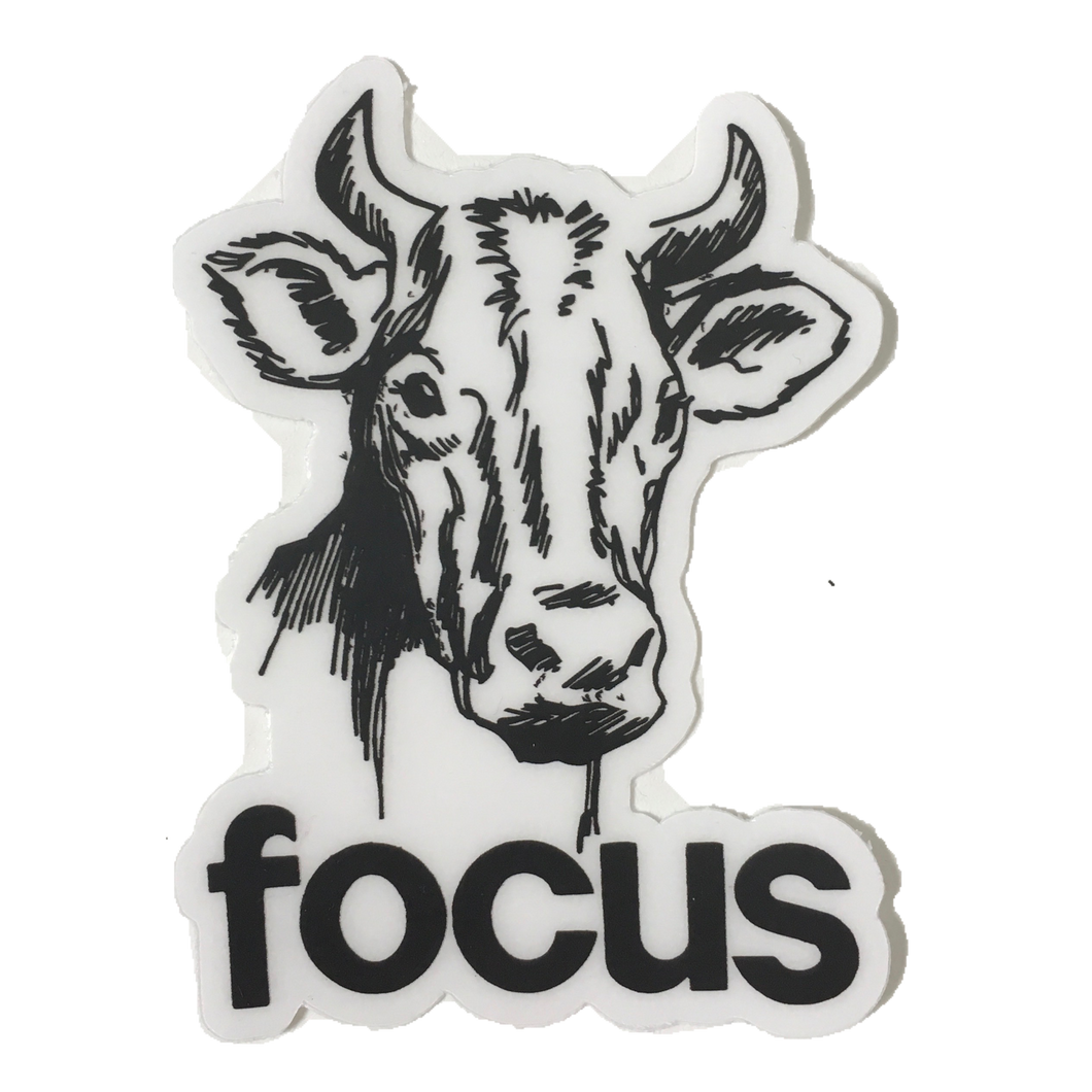 focus cow sticker