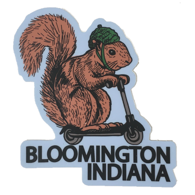 squirrel on a bird bloomington indiana sticker