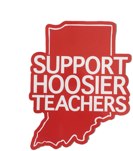 Indiana Red For Ed window cling - Support Hoosier Teachers