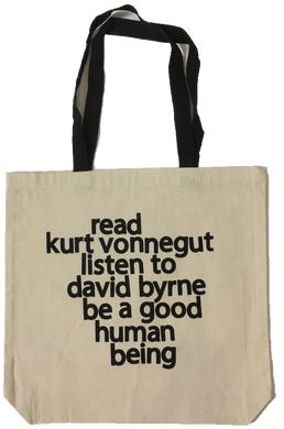 Read Kurt Vonnegut Listen to David Byrne Tote Bag