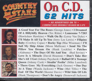Various Artists Country Stars On CD 62 Hits: 3 CD Set