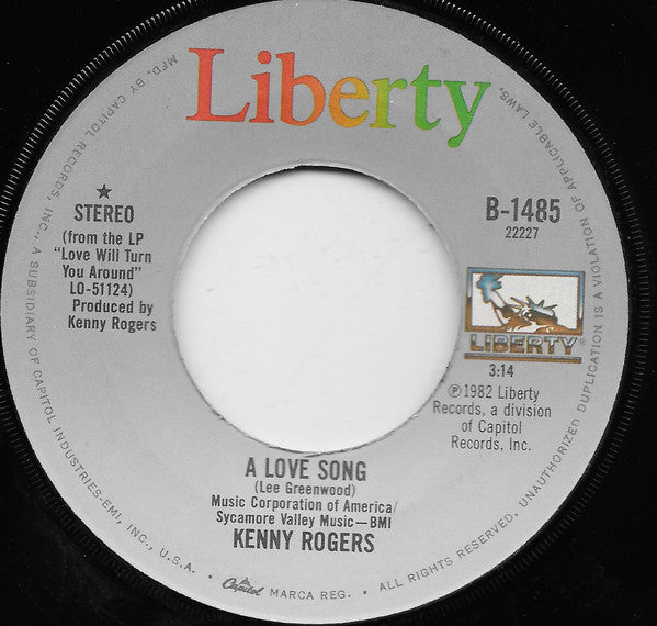 "Kenny Rogers A Love Song / The Fool In Me 7"" Single"