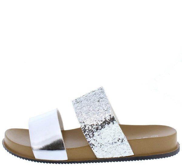 e788e15f1dc 1101 Silver Two Tone Metallic Slide on Sandal Flat Sandal - Wholesale  Fashion Shoes