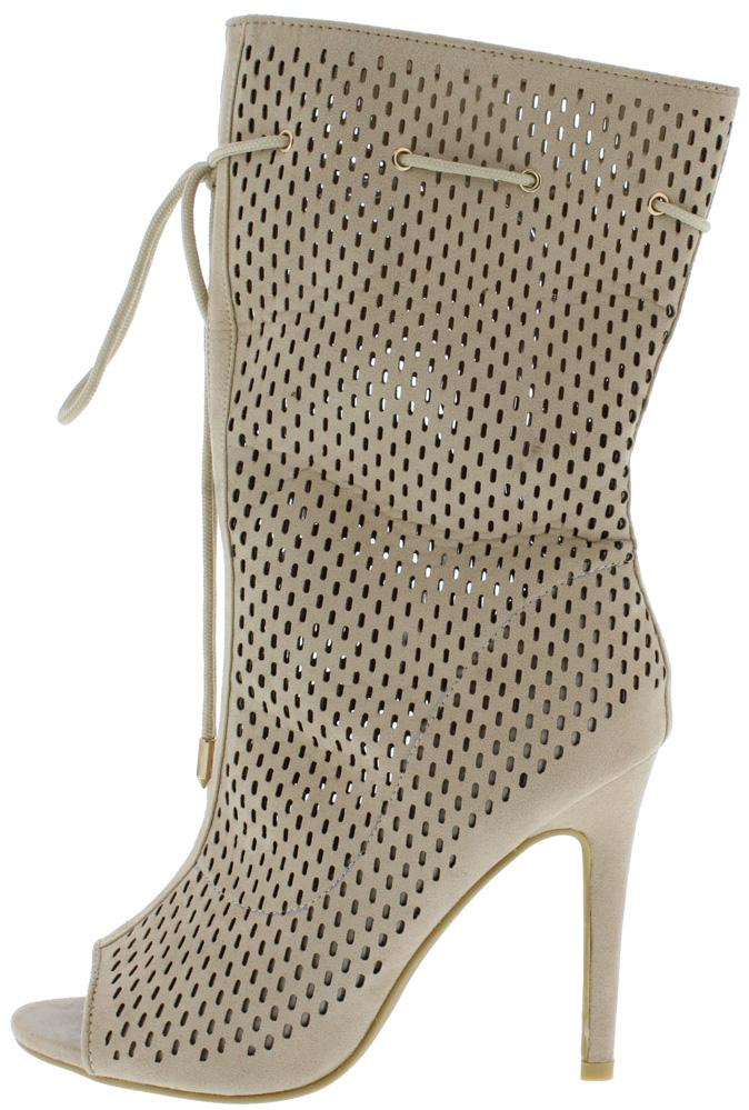Kinsley056 Beige Peep Toe Perforated Stiletto Boot