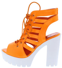 Load image into Gallery viewer, Norma032 Orange Caged Lace Up Lug Sole Boot - Wholesale Fashion Shoes ?id=18204052717612