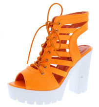Load image into Gallery viewer, Norma032 Orange Caged Lace Up Lug Sole Boot - Wholesale Fashion Shoes ?id=18204052750380