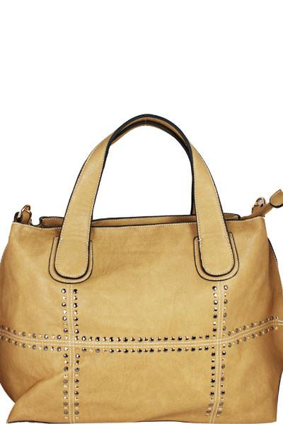 STUDDED FASHION WIDE SATCHEL BEIGE