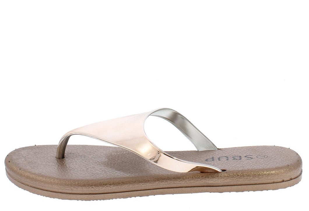 Addision191 Champagne Mirror Finish Slide On Y Thong Sandal