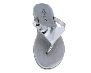 Addision191 Silver Mirror Finish Slide On Y Thong Sandal