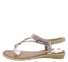 Load image into Gallery viewer, A2911 Brown Sparkle T Strap Slingback Thong Sandal