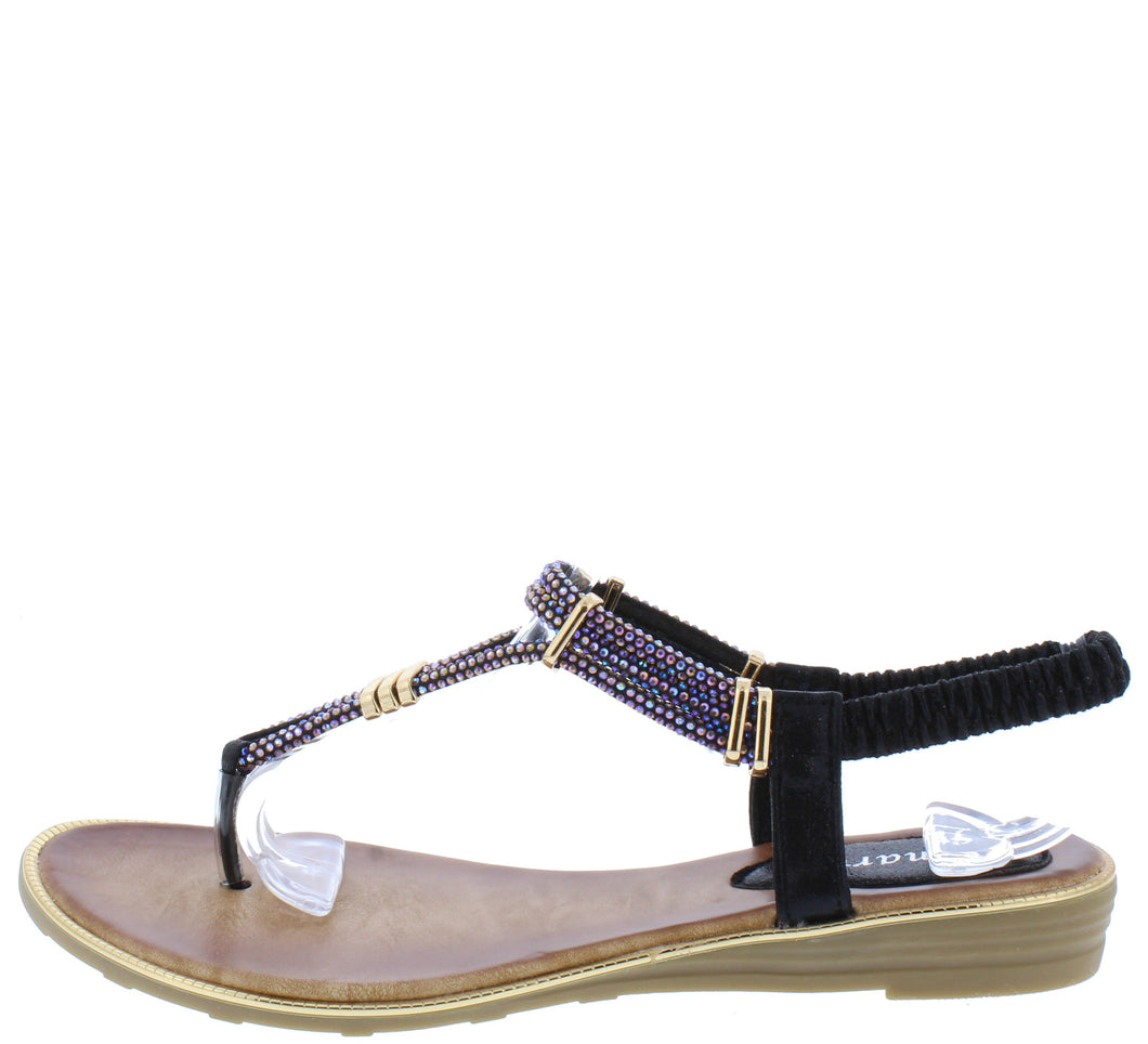 A291 Black Sparkle T Strap Slingback Thong Sandal - Wholesale Fashion Shoes ?id=16694453764140