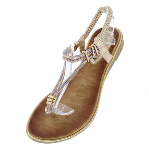 A291 Gold Sparkle T Strap Slingback Thong Sandal - Wholesale Fashion Shoes ?id=16694459498540