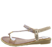 Load image into Gallery viewer, A291 Gold Sparkle T Strap Slingback Thong Sandal - Wholesale Fashion Shoes ?id=16694459531308