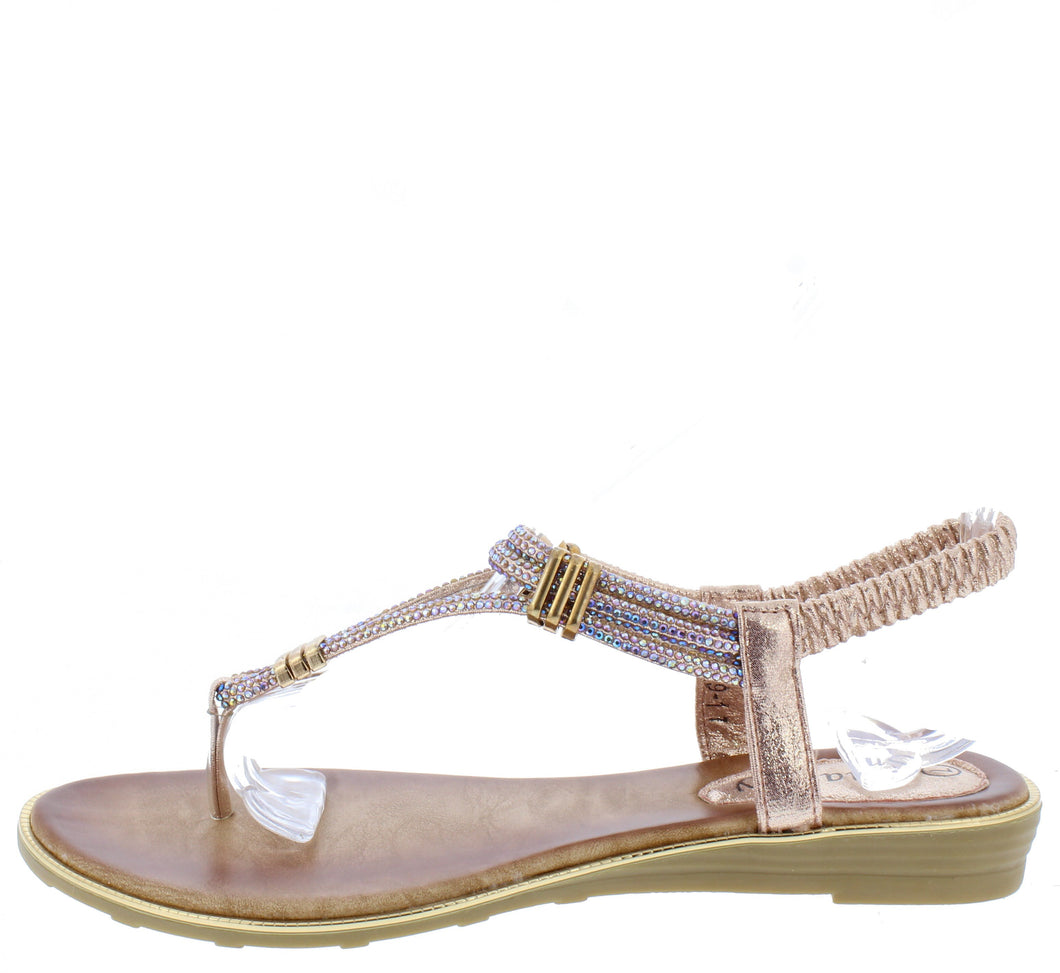 A291 Pink Sparkle T Strap Slingback Thong Sandal - Wholesale Fashion Shoes ?id=16694454419500