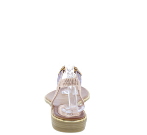 A291 Pink Sparkle T Strap Slingback Thong Sandal - Wholesale Fashion Shoes ?id=16694454386732