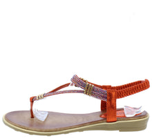 Load image into Gallery viewer, A291 Red Sparkle T Strap Slingback Thong Sandal - Wholesale Fashion Shoes ?id=16694454845484