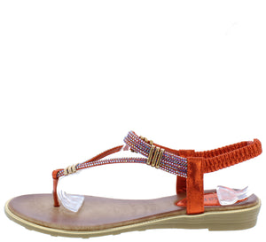 A291 Red Sparkle T Strap Slingback Thong Sandal - Wholesale Fashion Shoes ?id=16694454845484