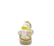 Load image into Gallery viewer, A291 Yellow Sparkle T Strap Slingback Thong Sandal