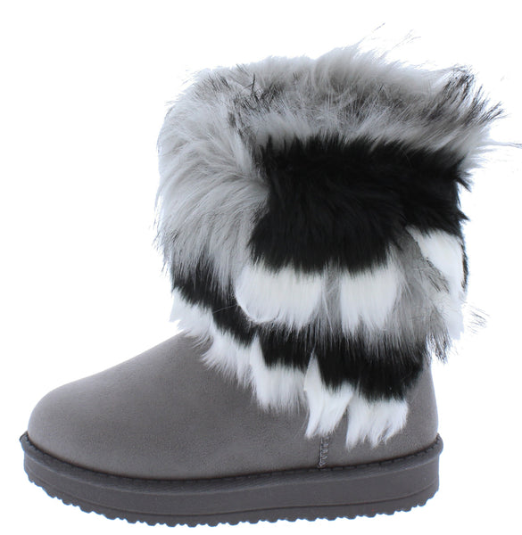 Adak Grey Faux Fur Pull On Kids Boot - Wholesale Fashion Shoes