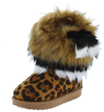 Load image into Gallery viewer, Adak Leopard Faux Fur Pull On Kids Boot - Wholesale Fashion Shoes ?id=18108263694380
