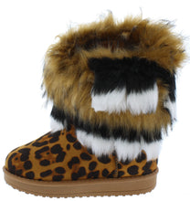 Load image into Gallery viewer, Adak Leopard Faux Fur Pull On Kids Boot - Wholesale Fashion Shoes ?id=18108263661612