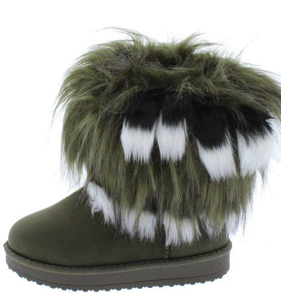Adak Olive Green Faux Fur Pull On Kids Boot - Wholesale Fashion Shoes