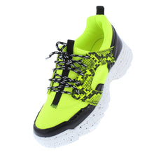 Load image into Gallery viewer, Above20 Neon Yellow Two Tone Animal Lace Up Sneaker Flat - Wholesale Fashion Shoes