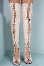 Load image into Gallery viewer, Abril1 Nude Open Toe Lace Up Patent Over the Knee Boot